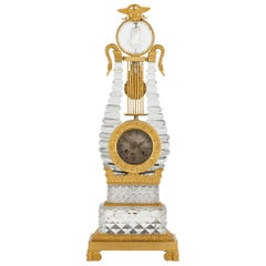 Restauration Gilt Bronze Mounted Crystal Lyre Mantel Clock