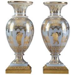 Restauration Opaline Glass Vases by Jean-Baptiste Desvignes