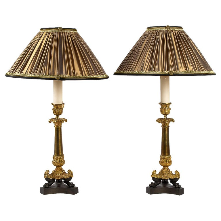 Restoration Period, Converted in Table Lamps, Pair of Small Bronze Candlesticks For Sale