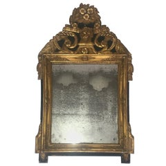 Restauration Period Gilt and Green Painted Mirror with Mercury Mirror, French