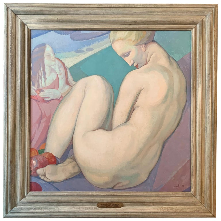 """""""Resting,"""" Art Deco Masterpiece Painting by Rigal, Waldorf Astoria Muralist For Sale"""