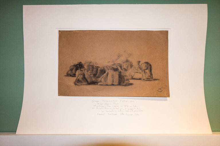 Resting camel drawing on paper by Georges Washington, stamped
