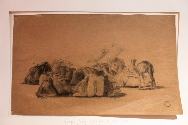Napoleon III Resting Camel Drawing on Paper by Georges Washington 'Artist' For Sale