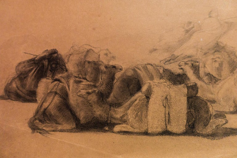 19th Century Resting Camel Drawing on Paper by Georges Washington 'Artist' For Sale