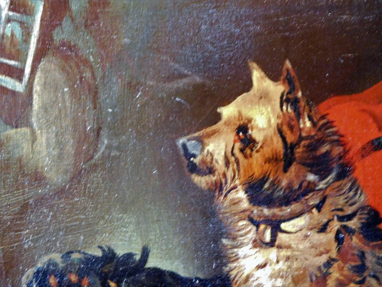 Resting Terriers, Oil Painting on Canvas, British School of Sporting Art For Sale 2