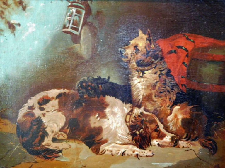Resting Terriers, Oil Painting on Canvas, British School of Sporting Art For Sale 4