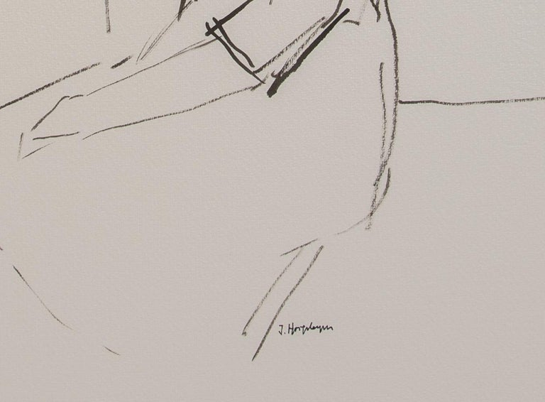 Modern Resting Woman Portrait Unframed Drawing Ink 100% Cotton Paper Black White  For Sale