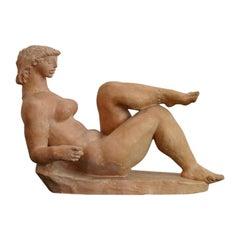 Resting Woman Terracotta Sculpture by Jenő Kerényi, 1961