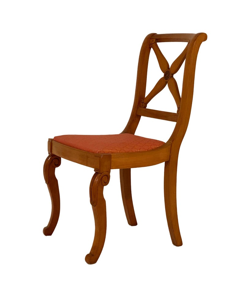 French Restoration Dining Chairs with Armchairs For Sale