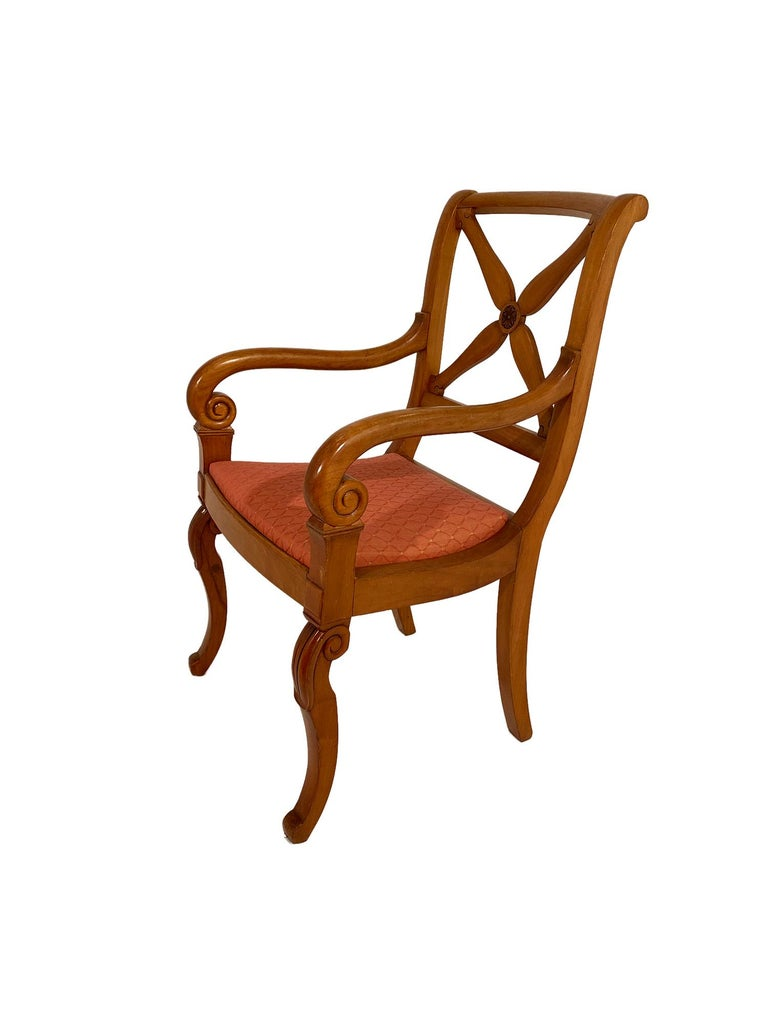 Restoration Dining Chairs with Armchairs In Good Condition For Sale In Austin, TX