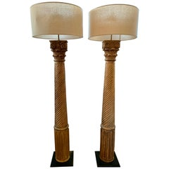 Restoration Hardware Corinthian Hand Carved Column Floor Lamps