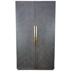 Restoration Hardware Herringbone Double Door Linen Press China Cabinet Armoire