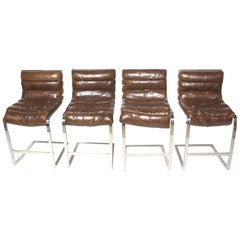 Restoration Hardware Oviedo Brown Leather Bar Stools, Set of 4