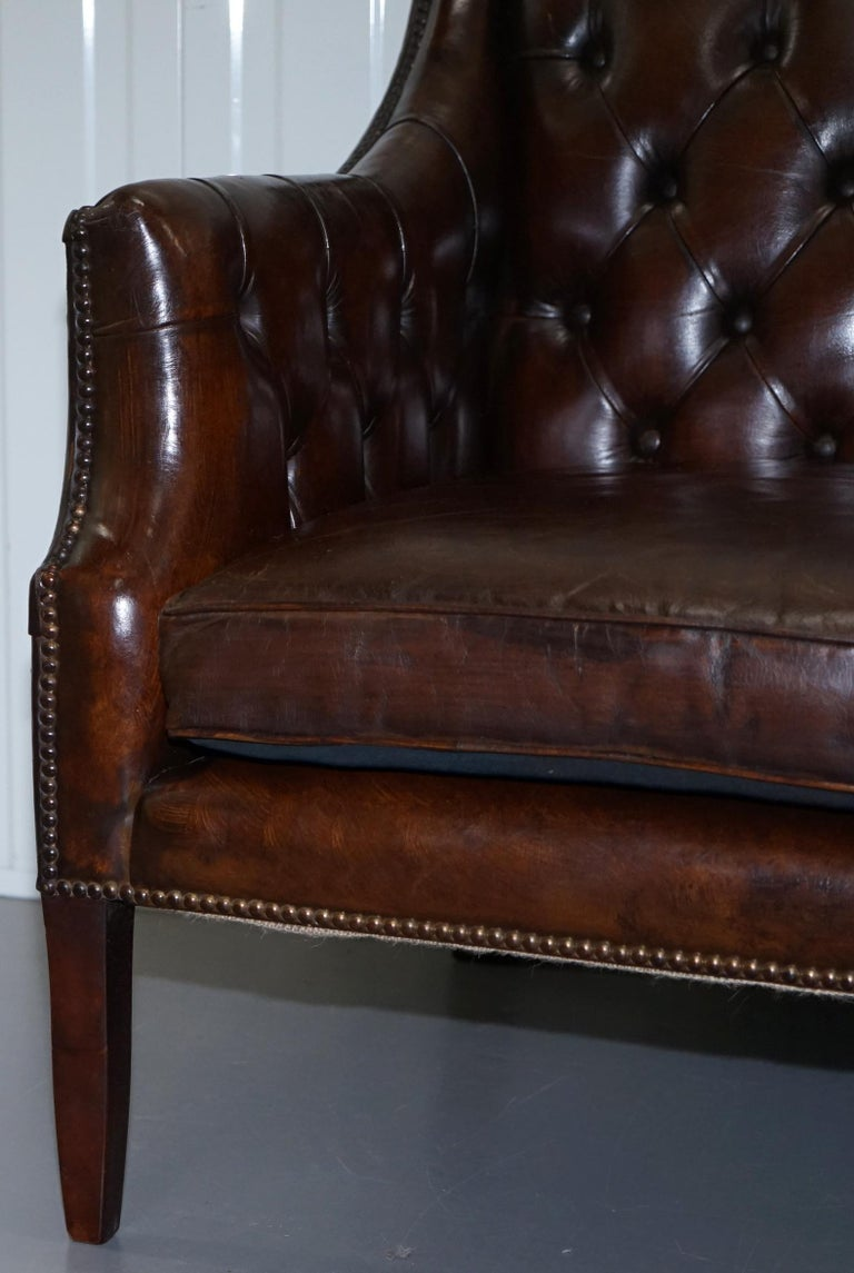 Restored Lutyen's Viceroy Chesterfield Brown Leather Two-Seat Sofa For Sale 3