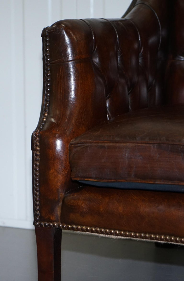 Restored Lutyen's Viceroy Chesterfield Brown Leather Two-Seat Sofa For Sale 4