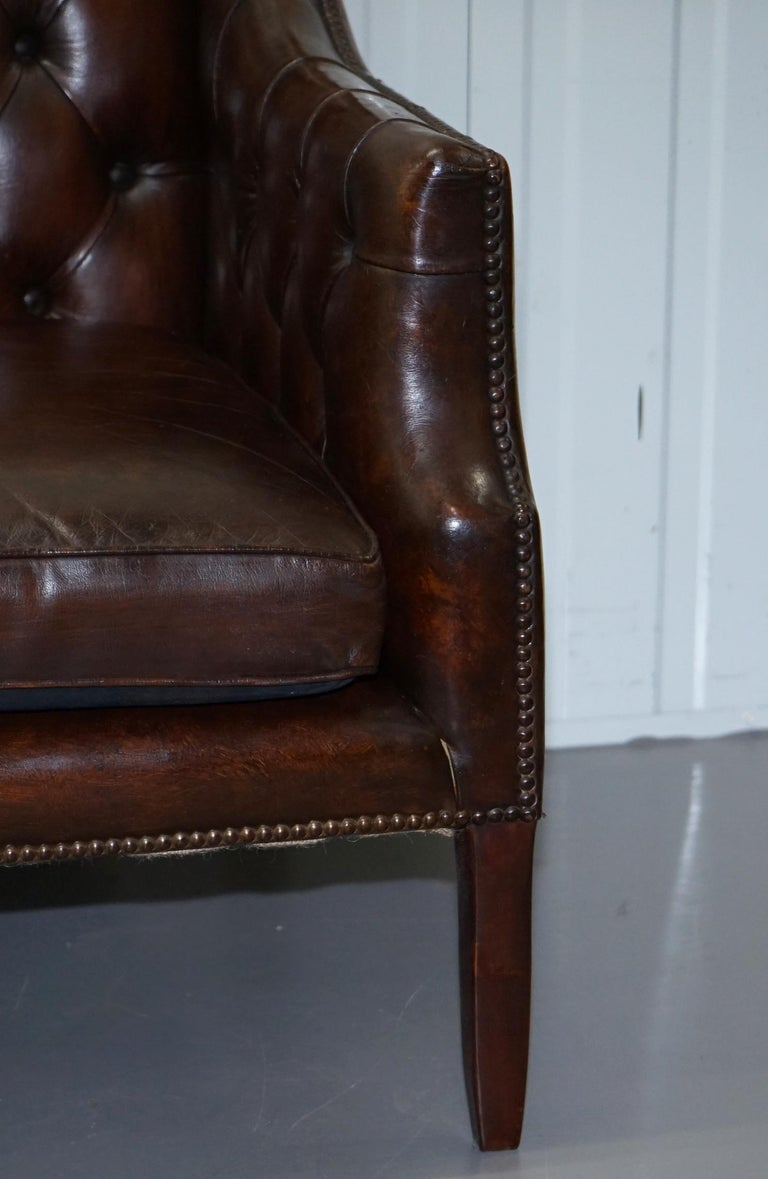 Restored Lutyen's Viceroy Chesterfield Brown Leather Two-Seat Sofa For Sale 5