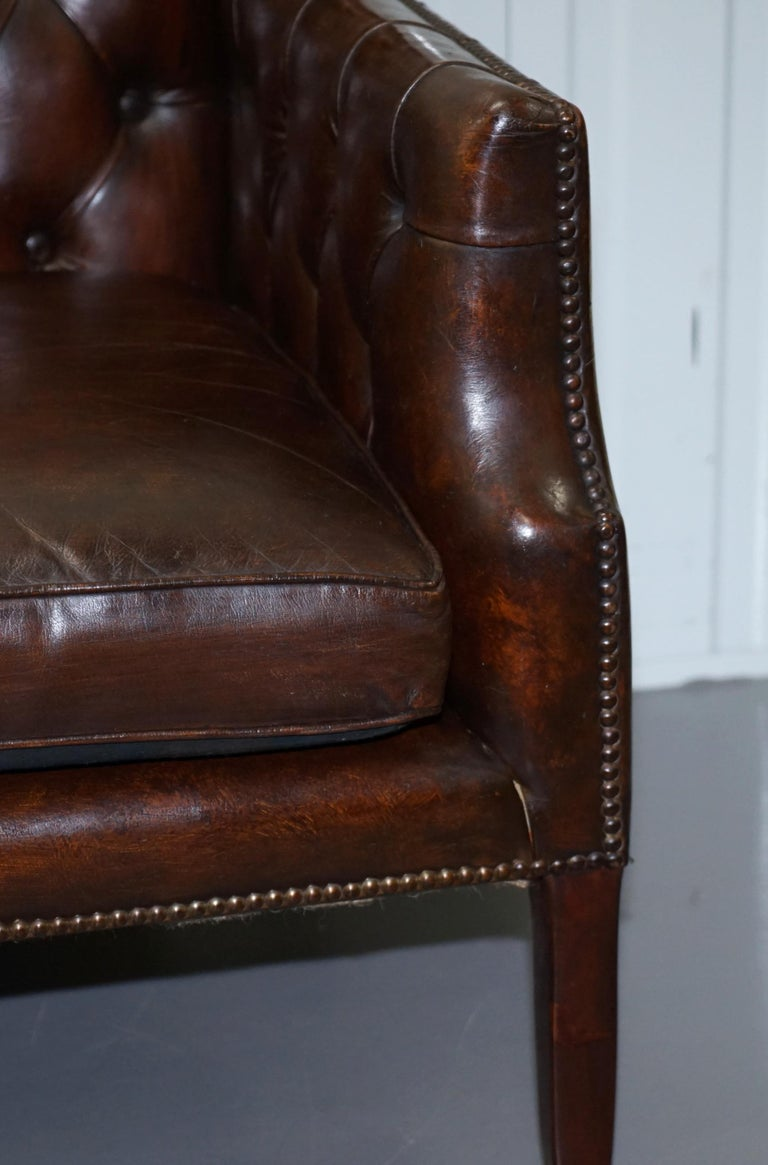Restored Lutyen's Viceroy Chesterfield Brown Leather Two-Seat Sofa For Sale 6