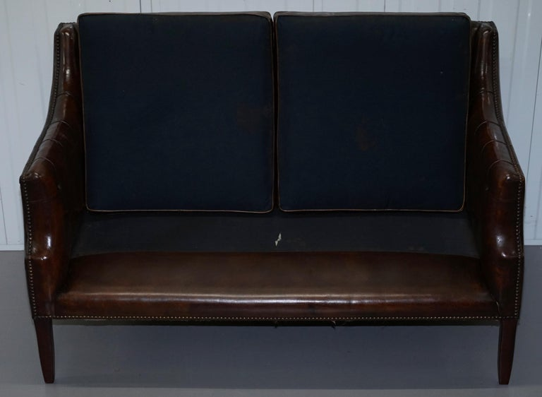 Restored Lutyen's Viceroy Chesterfield Brown Leather Two-Seat Sofa For Sale 7