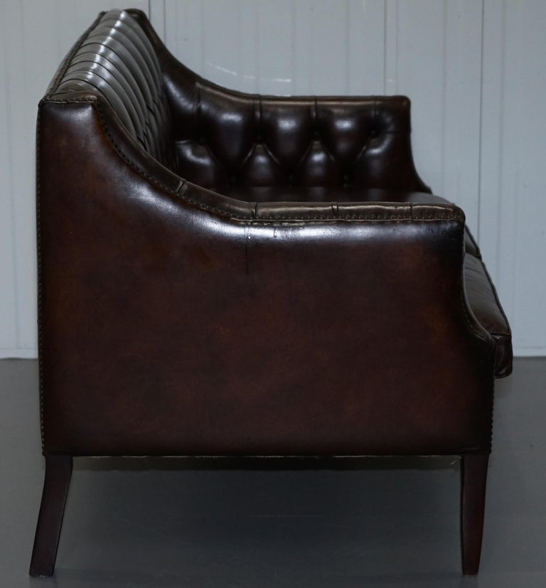 Restored Lutyen's Viceroy Chesterfield Brown Leather Two-Seat Sofa For Sale 8