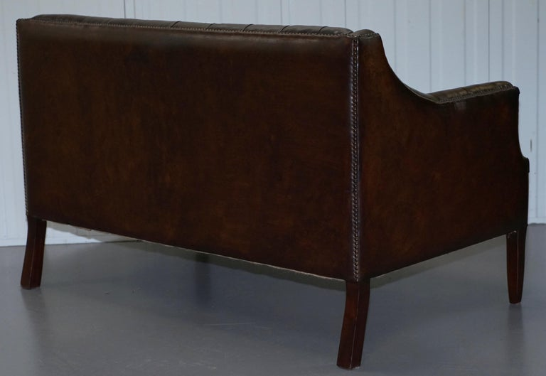 Restored Lutyen's Viceroy Chesterfield Brown Leather Two-Seat Sofa For Sale 9