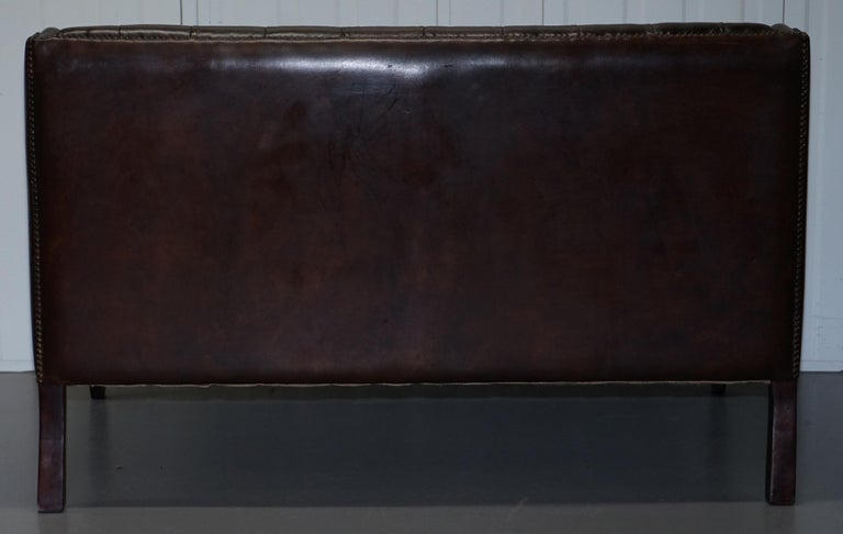 Restored Lutyen's Viceroy Chesterfield Brown Leather Two-Seat Sofa For Sale 10