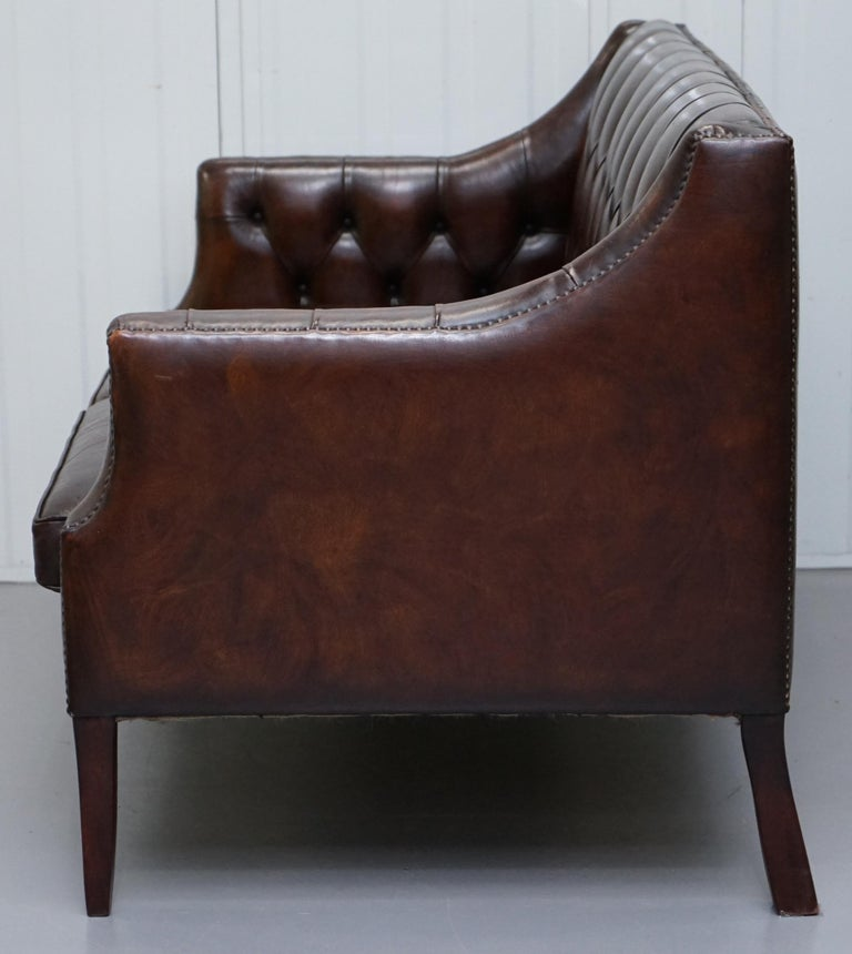 Restored Lutyen's Viceroy Chesterfield Brown Leather Two-Seat Sofa For Sale 11