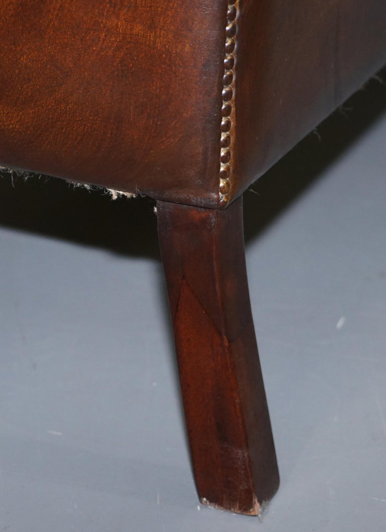 Restored Lutyen's Viceroy Chesterfield Brown Leather Two-Seat Sofa For Sale 12