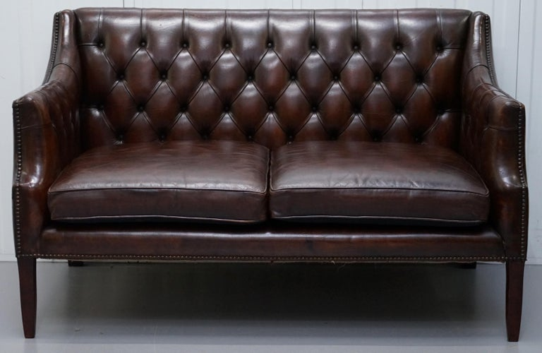 Mid-Century Modern Restored Lutyen's Viceroy Chesterfield Brown Leather Two-Seat Sofa For Sale