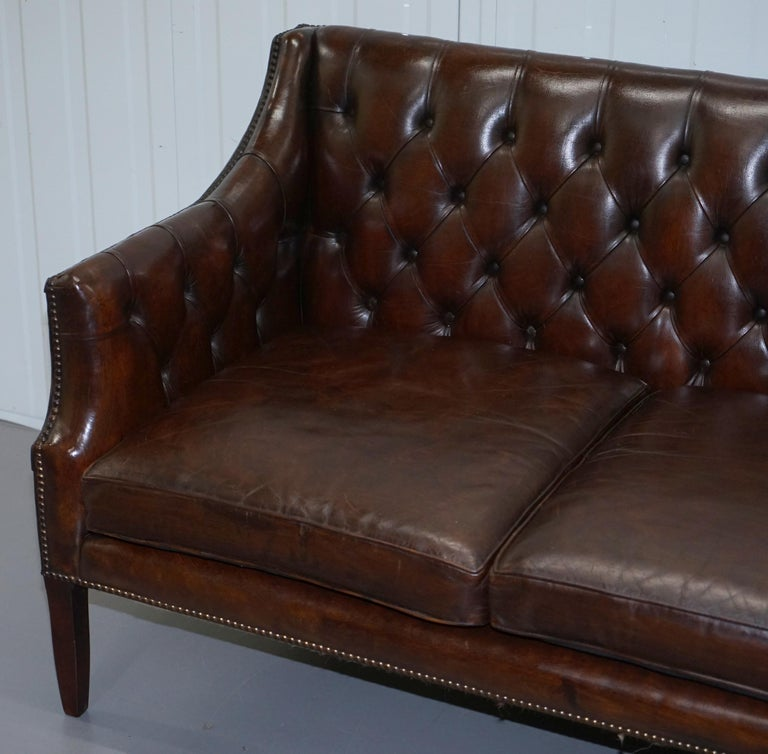English Restored Lutyen's Viceroy Chesterfield Brown Leather Two-Seat Sofa For Sale
