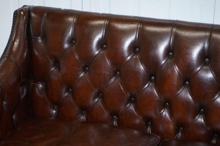 Hand-Crafted Restored Lutyen's Viceroy Chesterfield Brown Leather Two-Seat Sofa For Sale