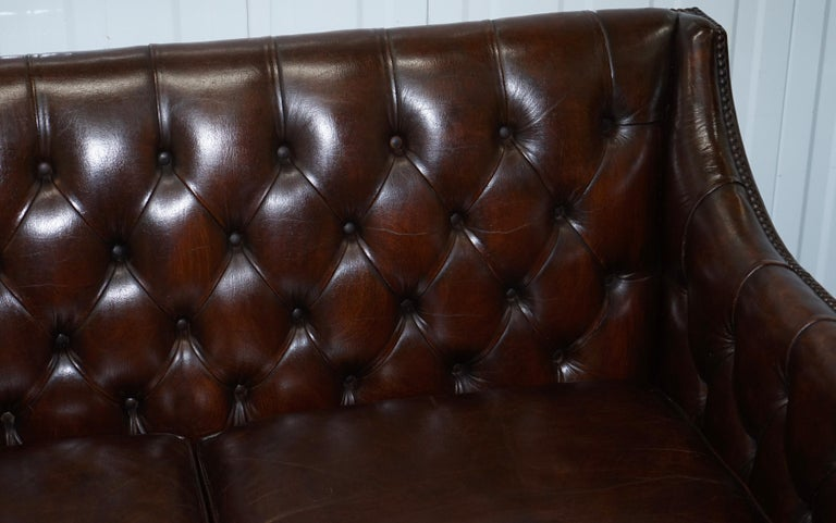Restored Lutyen's Viceroy Chesterfield Brown Leather Two-Seat Sofa For Sale 1