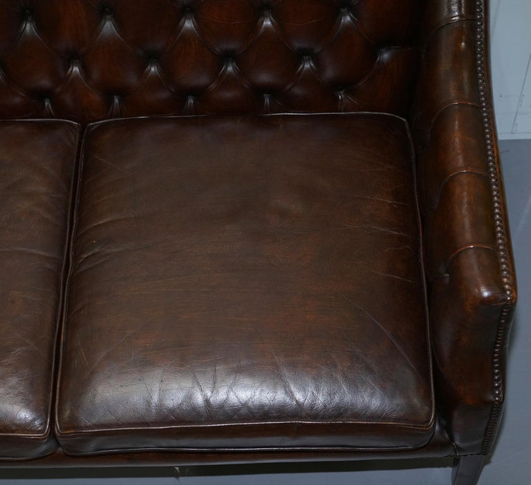 Restored Lutyen's Viceroy Chesterfield Brown Leather Two-Seat Sofa For Sale 2