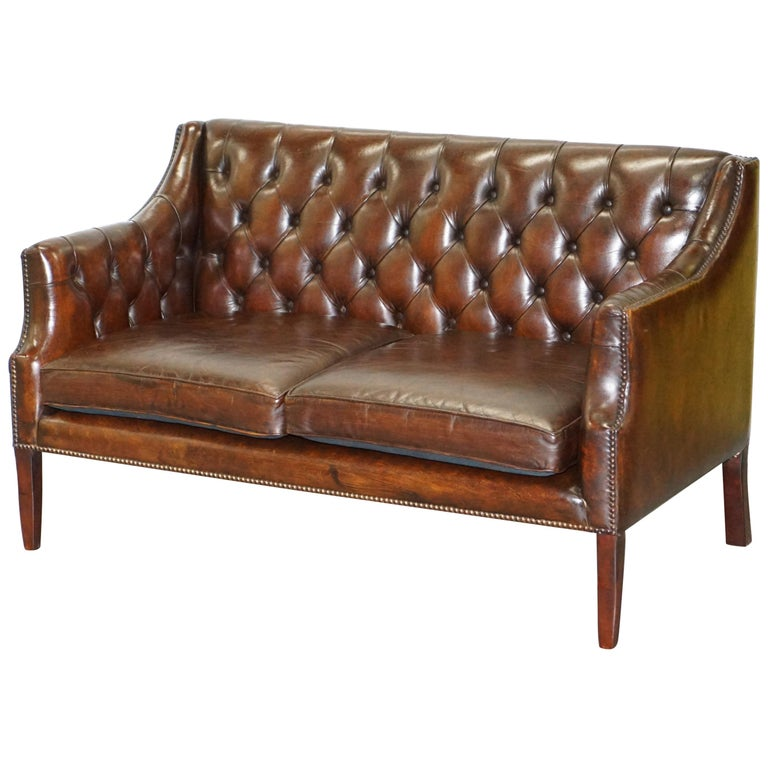 Restored Lutyen's Viceroy Chesterfield Brown Leather Two-Seat Sofa For Sale