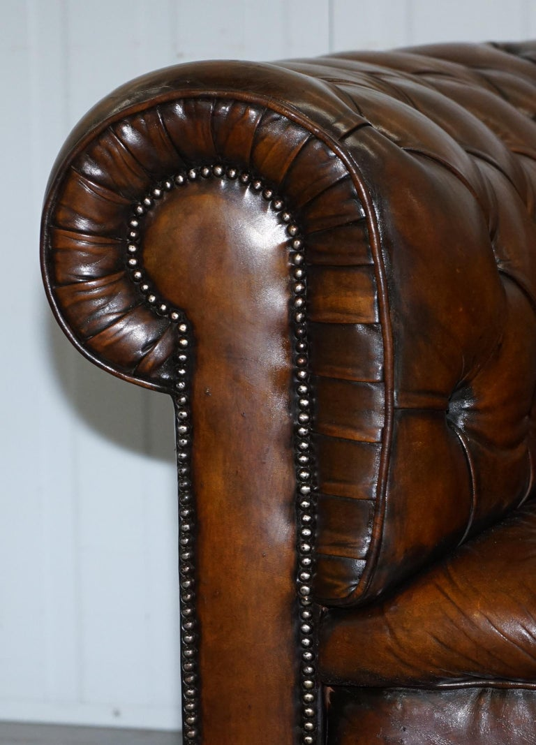 Hand-Crafted Restored 1900s Chesterfield Buttoned Hand Dyed Brown Leather Sofa Horse Hair For Sale