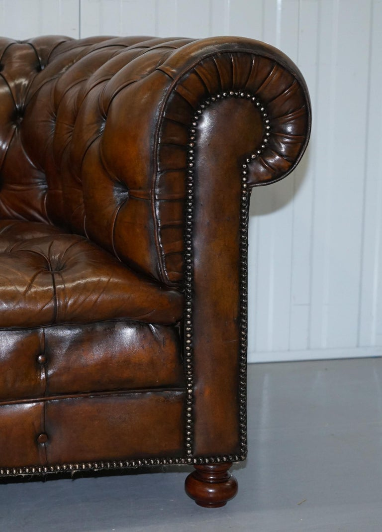 Restored 1900s Chesterfield Buttoned Hand Dyed Brown Leather Sofa Horse Hair In Good Condition For Sale In London, GB