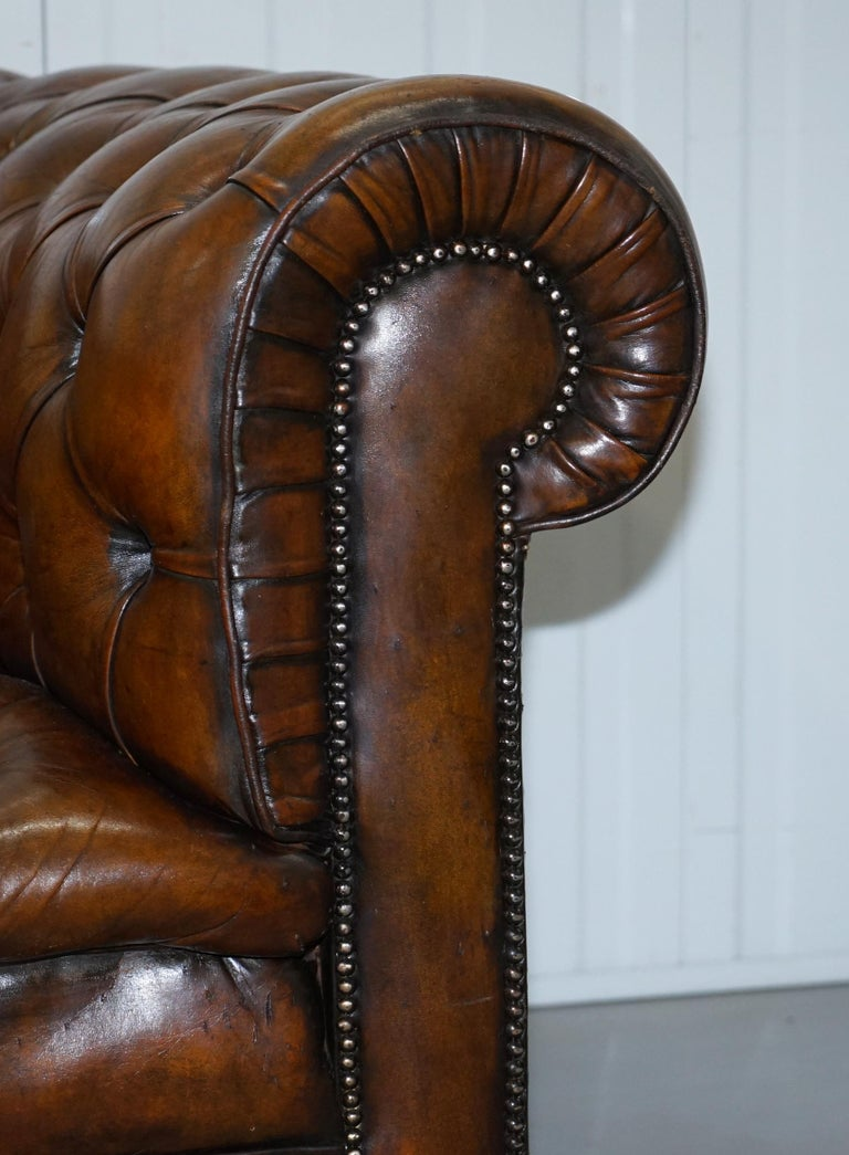 Early 20th Century Restored 1900s Chesterfield Buttoned Hand Dyed Brown Leather Sofa Horse Hair For Sale