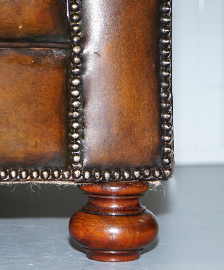 Restored 1900s Chesterfield Buttoned Hand Dyed Brown Leather Sofa Horse Hair For Sale 1
