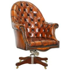 Restored 1920s Hillcrest Chesterfield Brown Leather Directors Captains Chair