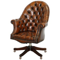 Restored 1930s Chesterfield Barrel Back Brown Leather Directors Captains Chair