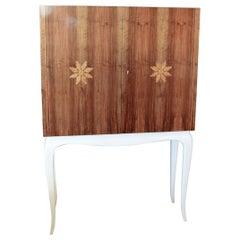 Restored 1940s Walnut Inlaid Italian Bar Cabinet with Mirrored Interior
