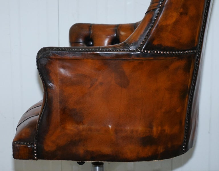 Restored 1960s Chesterfield High Back Brown Leather
