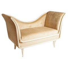 Restored 1960s Italian Painted Metal and Upholstered Settee