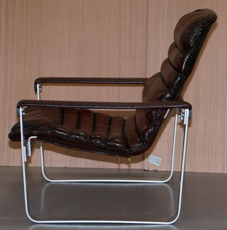 1960s Aarnio Pulkka Ilmari Lappalainen Brown Leather Chrome Armchair Sofa Suite For Sale 3