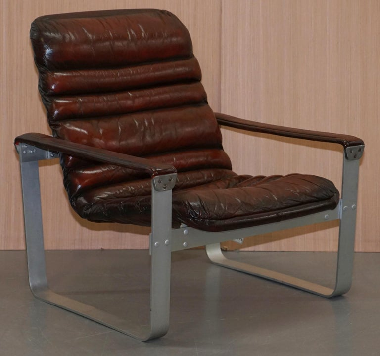 Mid-Century Modern 1960s Aarnio Pulkka Ilmari Lappalainen Brown Leather Chrome Armchair Sofa Suite For Sale
