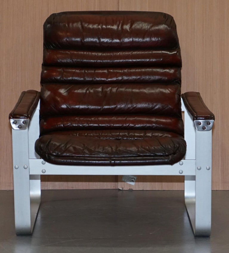 Finnish 1960s Aarnio Pulkka Ilmari Lappalainen Brown Leather Chrome Armchair Sofa Suite For Sale