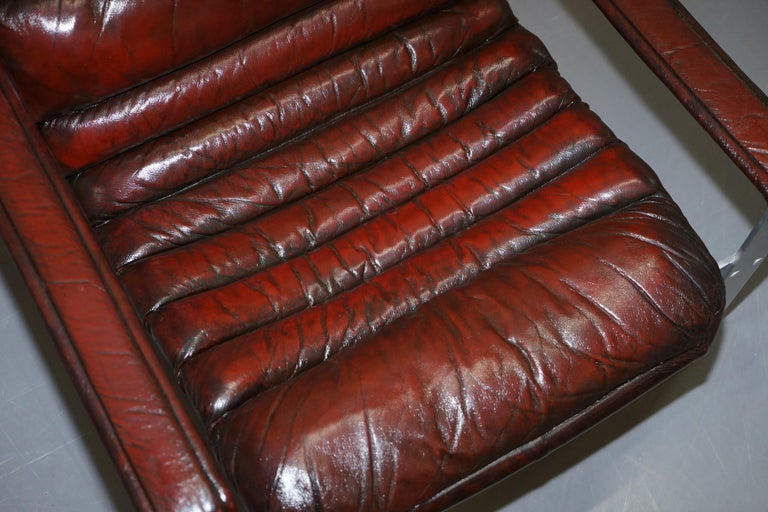 20th Century 1960s Aarnio Pulkka Ilmari Lappalainen Brown Leather Chrome Armchair Sofa Suite For Sale