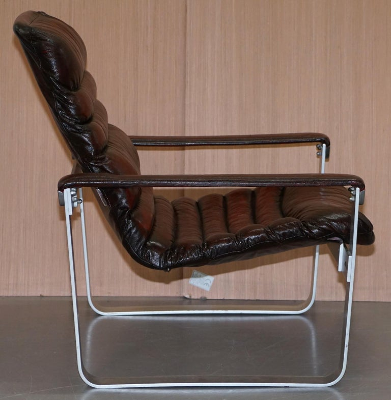 1960s Aarnio Pulkka Ilmari Lappalainen Brown Leather Chrome Armchair Sofa Suite For Sale 1