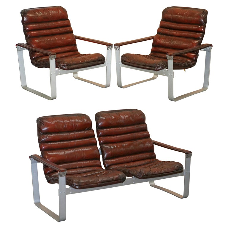 1960s Aarnio Pulkka Ilmari Lappalainen Brown Leather Chrome Armchair Sofa Suite For Sale