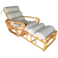 Restored 2-Piece Four-Strand Square Pretzel Rattan Chaise Lounge