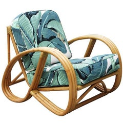 Restored 3/4 Round Pretzel Rattan Chair with Optional Beverly Palms Cushions